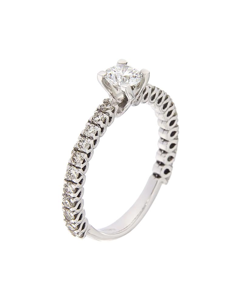 Μονόπετρο δαχτυλίδι λευκόχρυσο Κ18 με Διαμάντια