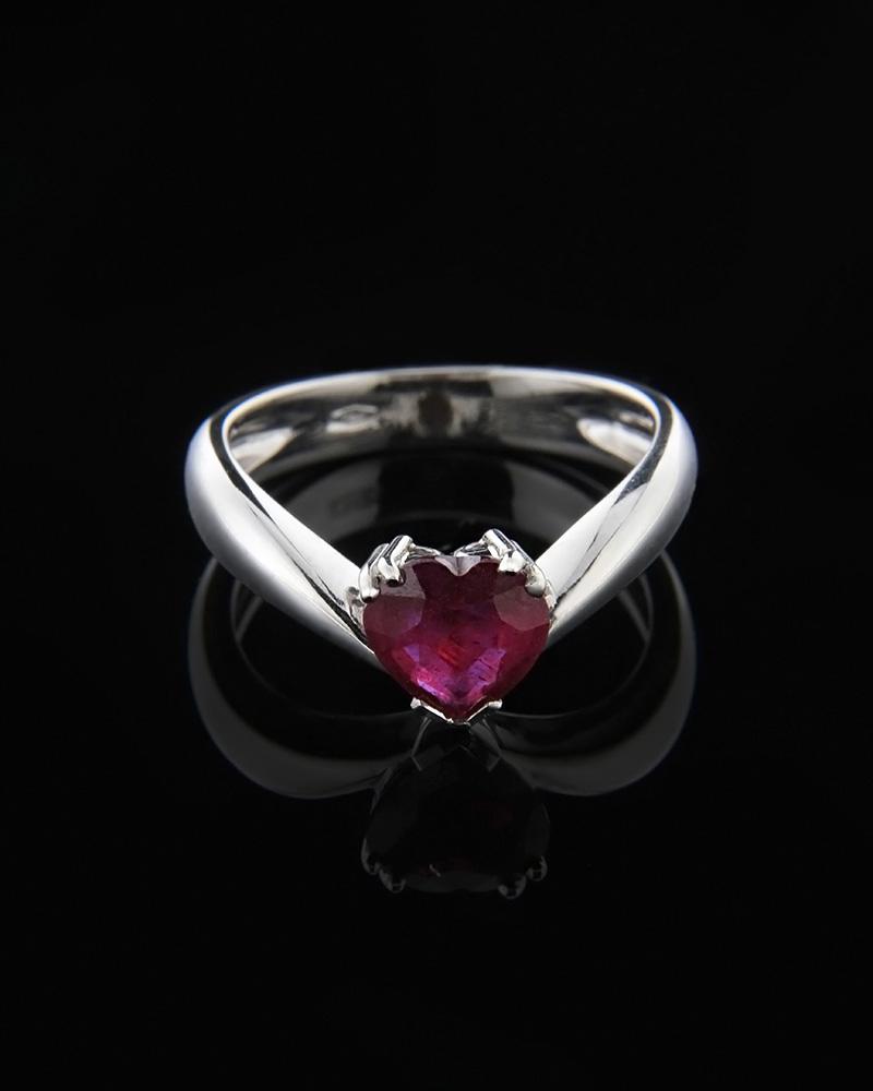 Μονόπετρο δαχτυλίδι λευκόχρυσο Κ18 με Ρουμπίνι   γυναικα δαχτυλίδια μονόπετρα με διαμάντια