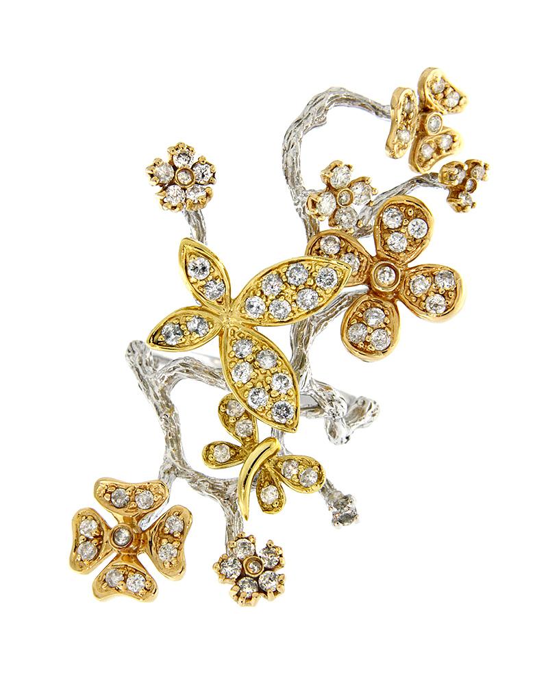 Δαχτυλίδι λευκόχρυσο, ροζ χρυσό & χρυσό Κ18 με Διαμάντια   γυναικα δαχτυλίδια δαχτυλίδια διαμάντια