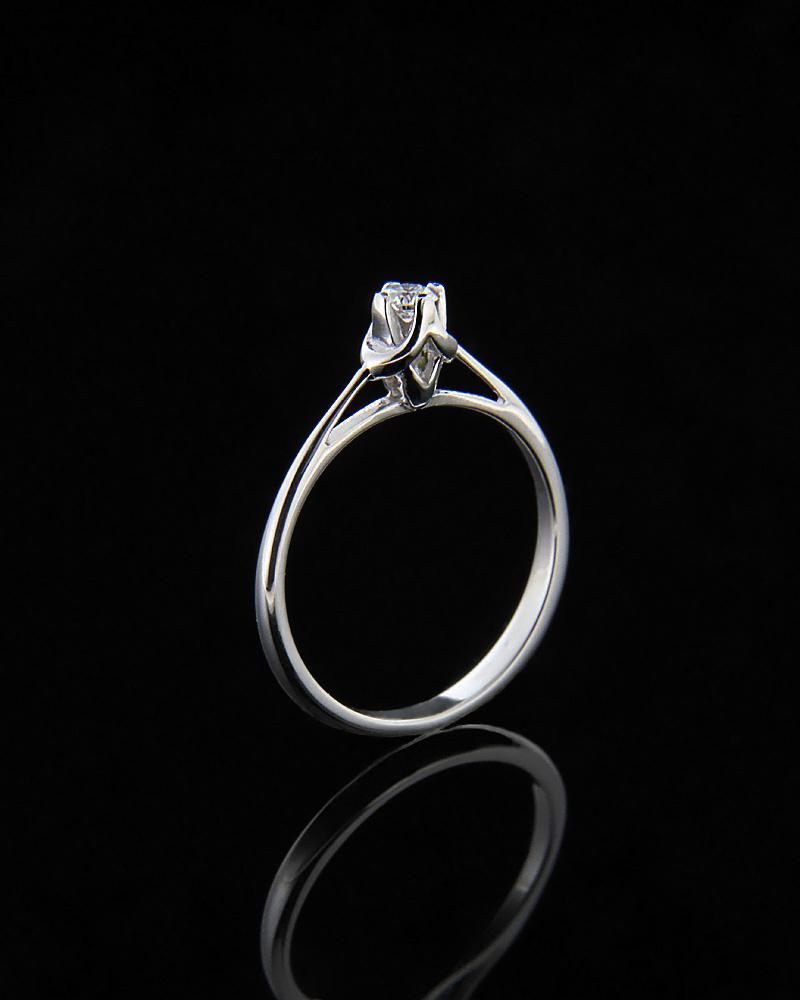 Μονόπετρο δαχτυλίδι λευκόχρυσο Κ18 με Διαμάντι   γαμοσ μονόπετρα μονοπετρα με διαμάντια
