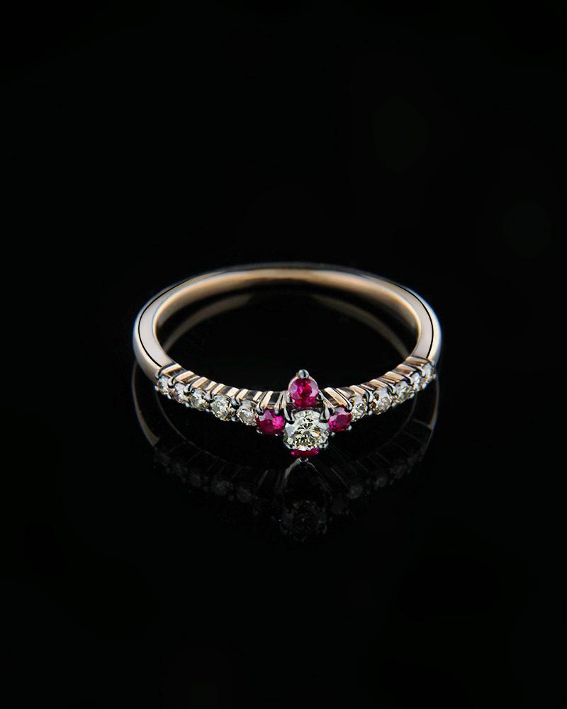 Δαχτυλίδι ροζ χρυσό Κ18 με Διαμάντια & Ρουμπίνια   κοσμηματα δαχτυλίδια μονόπετρα με διαμάντια