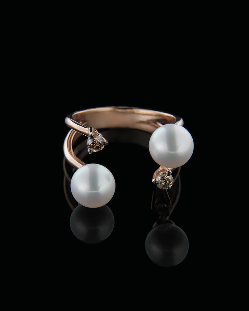 Δαχτυλίδι ροζ χρυσό Κ18 με Διαμάντια & Μαργαριτάρια   γυναικα δαχτυλίδια δαχτυλίδια διαμάντια