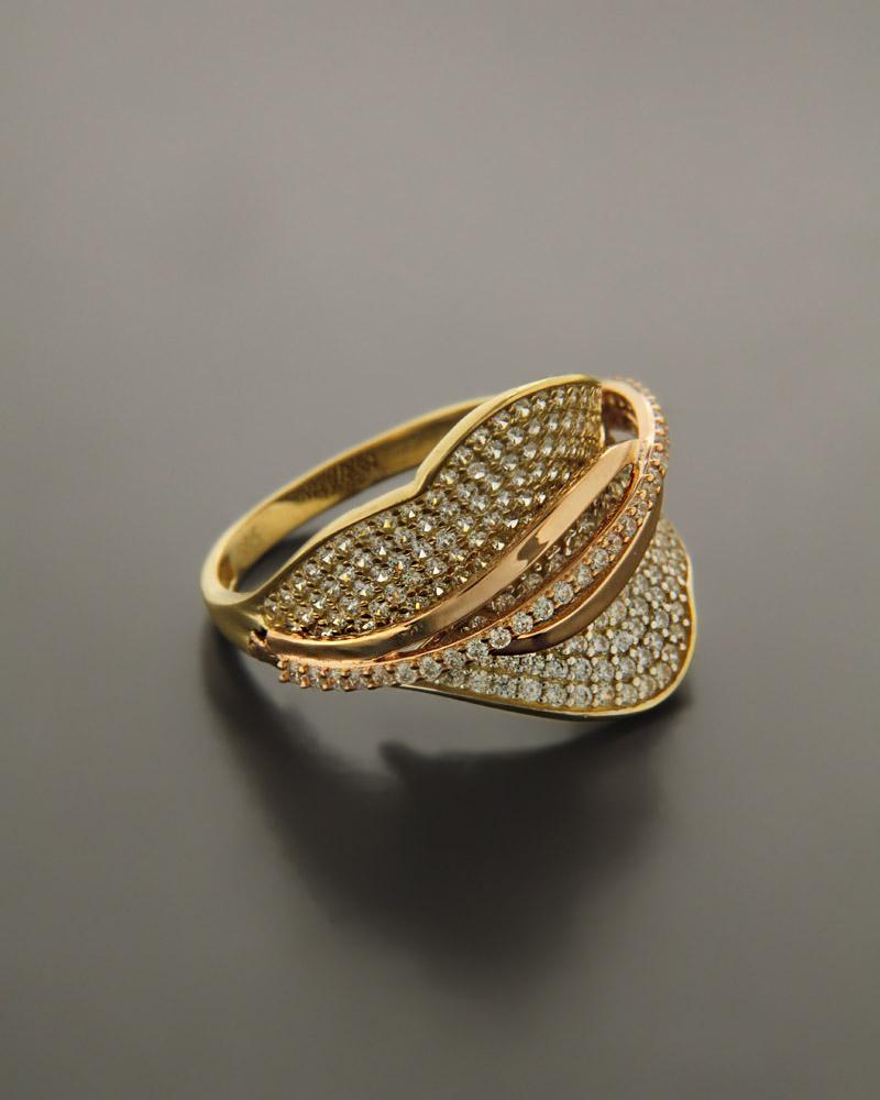 Δαχτυλίδι χρυσό & ροζ χρυσό Κ14 με ζιργκόν   κοσμηματα δαχτυλίδια δαχτυλίδια fashion