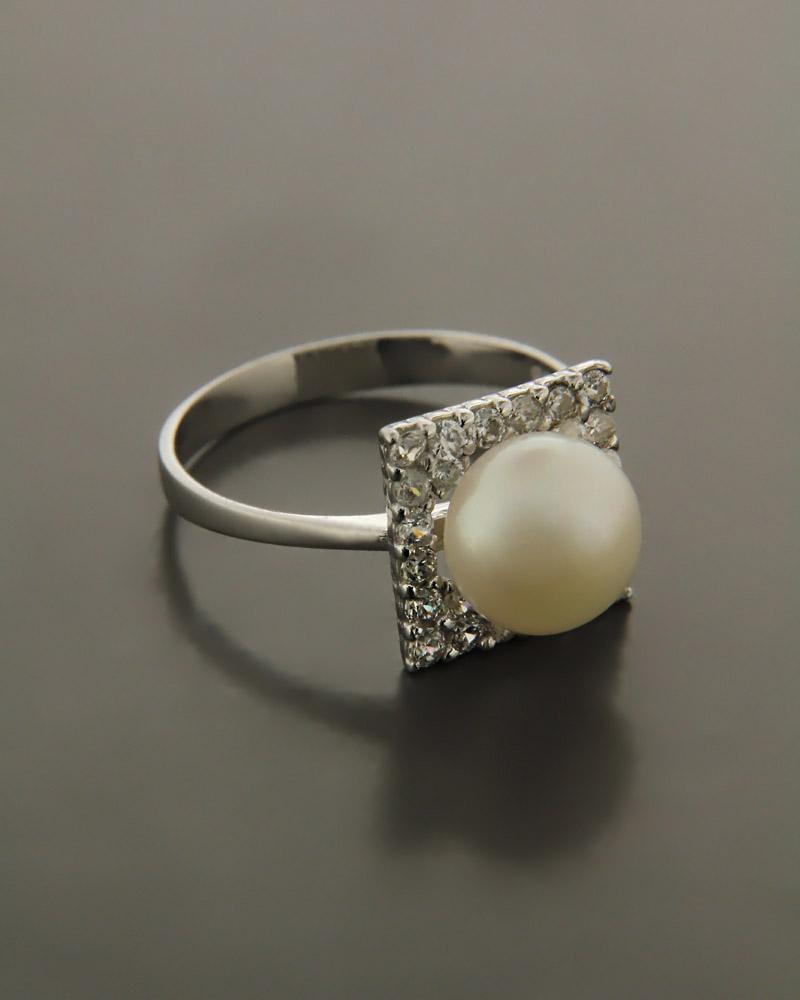 Δαχτυλίδι λευκόχρυσο Κ14 με μαργαριτάρι & ζιργκόν   γαμοσ μονόπετρα μονοπετρα με ζιργκόν