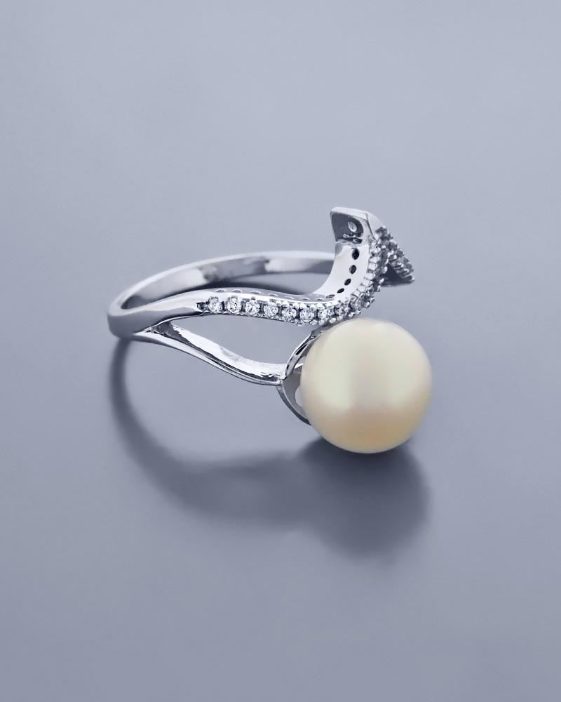 Δαχτυλίδι λευκόχρυσο Κ14 με μαργαριτάρι & ζιργκόν   ζησε το μυθο μονόπετρα μονοπετρα με ζιργκόν