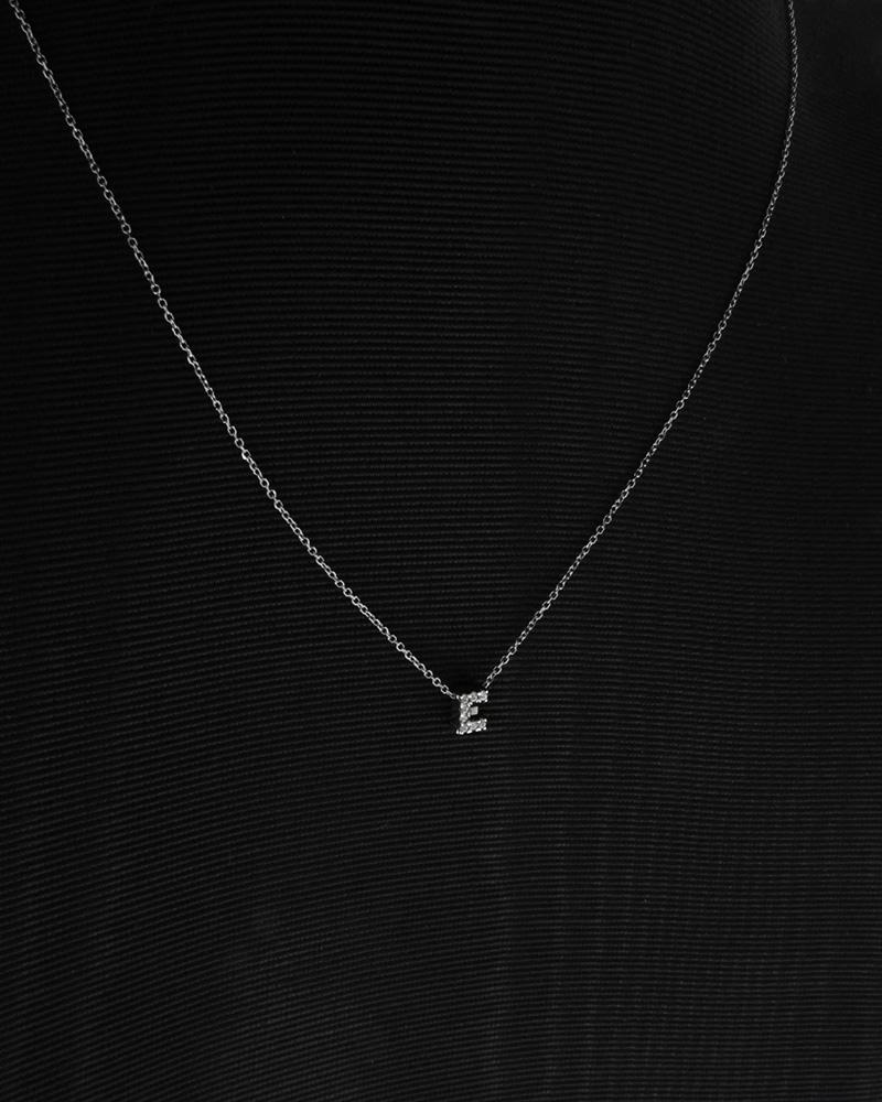 Κολιέ Μονόγραμμα ''Ε'' λευκόχρυσο Κ9 με ζιργκόν
