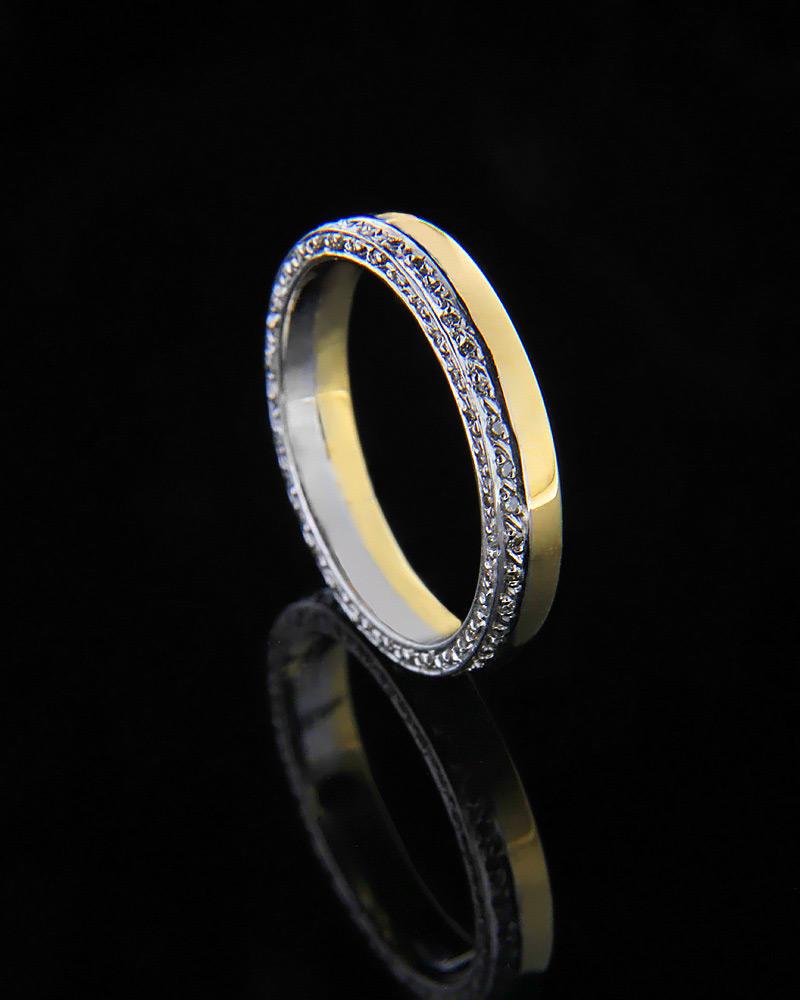 Βέρα δίχρωμη με διαμάντια Κ18   γαμοσ βέρες γάμου   αρραβώνα βέρες δίχρωμες