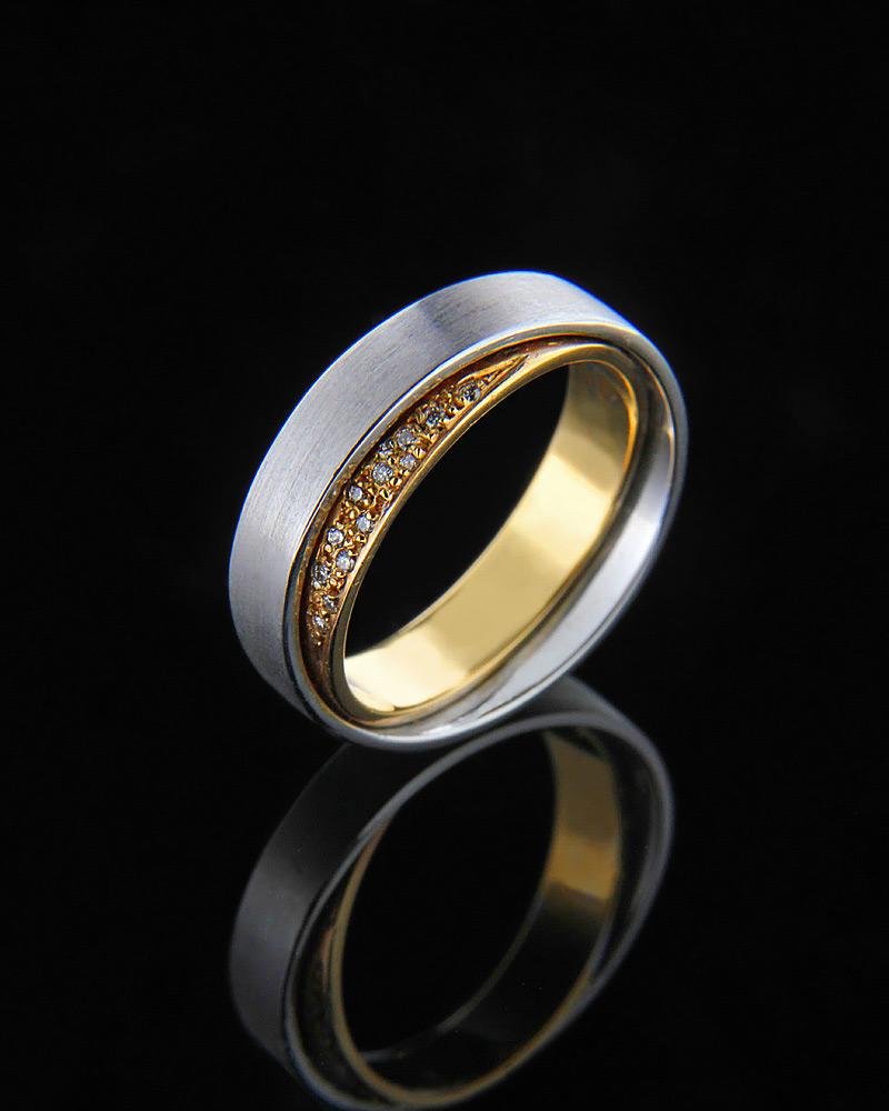 Βέρα δίχρωμη με διαμάντια Κ18   ζησε το μυθο βέρες γάμου   αρραβώνα βέρες δίχρωμες