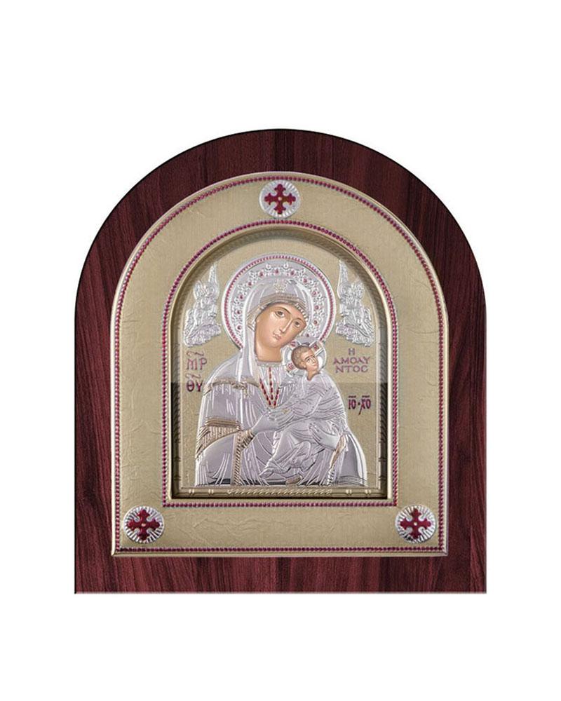Εικόνα Παναγία Αμόλυντος ξύλινη μπορντούρα με στεφάνι DE01813   δωρα εικόνες