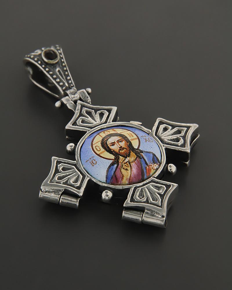 Βυζαντινός Σταυρός locket από ασήμι 925 με σμάλτο και γρανάδα   ανδρασ σταυροί ανδρικοί