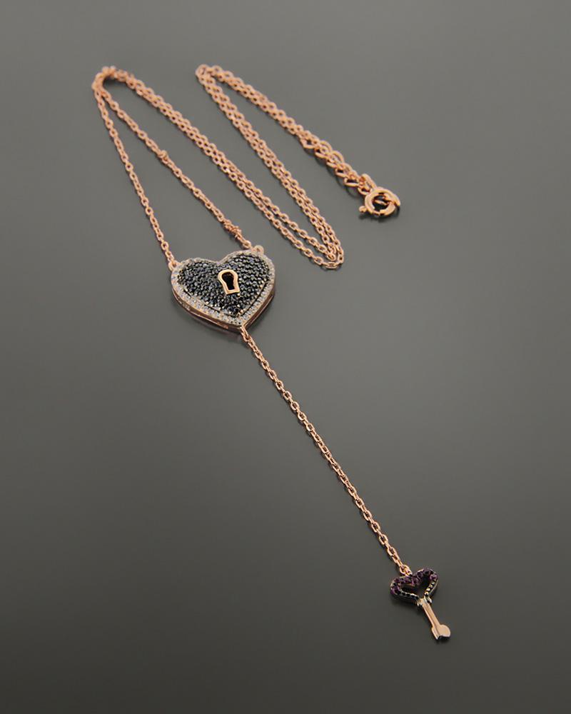 Ασημένιο κολιέ καρδιά και κλειδί με ζιργκόν   γυναικα κρεμαστά κολιέ κρεμαστά κολιέ καρδιές