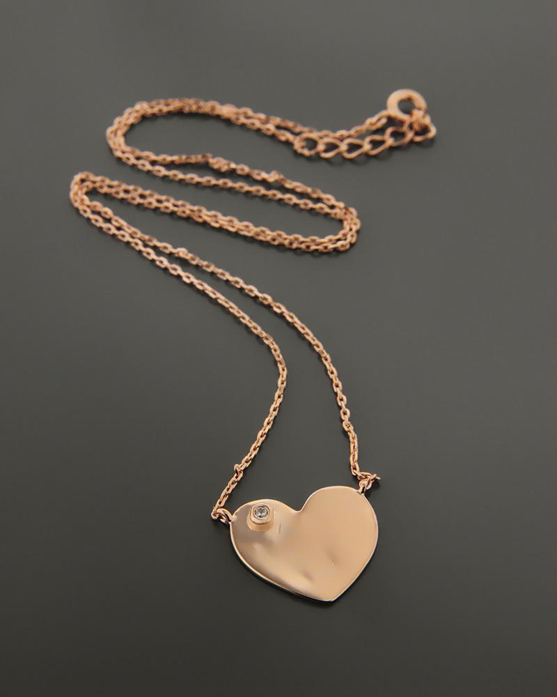 Ασημένιο κολιέ καρδιά με ζιργκόν ZN757   γυναικα κρεμαστά κολιέ κρεμαστά κολιέ καρδιές