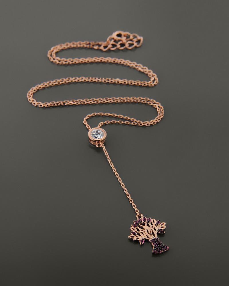 Ασημένιο κολιέ δεντράκι με ζιργκόν ZN772   γυναικα κοσμήματα για τη μαμά