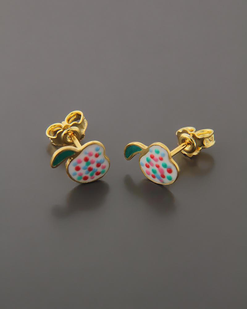 Παιδικά σκουλαρίκια χρυσά Κ14 με σμάλτο  583d747ccf8