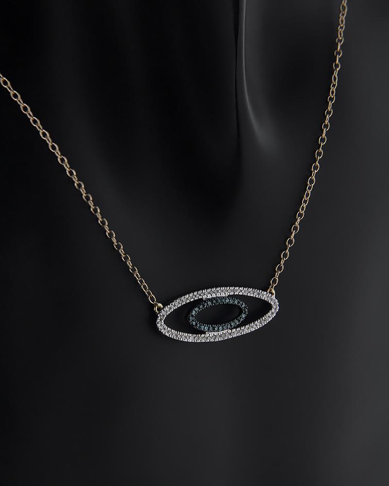 Κολιέ χρυσό Κ14 με Διαμάντια   γυναικα κοσμήματα με ματάκι