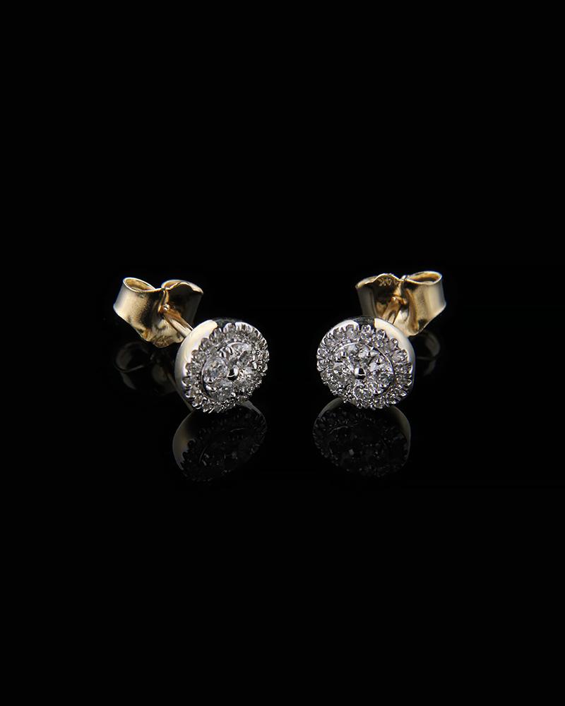 Σκουλαρίκια χρυσά Κ14 με Διαμάντια   γυναικα σκουλαρίκια σκουλαρίκια χρυσά