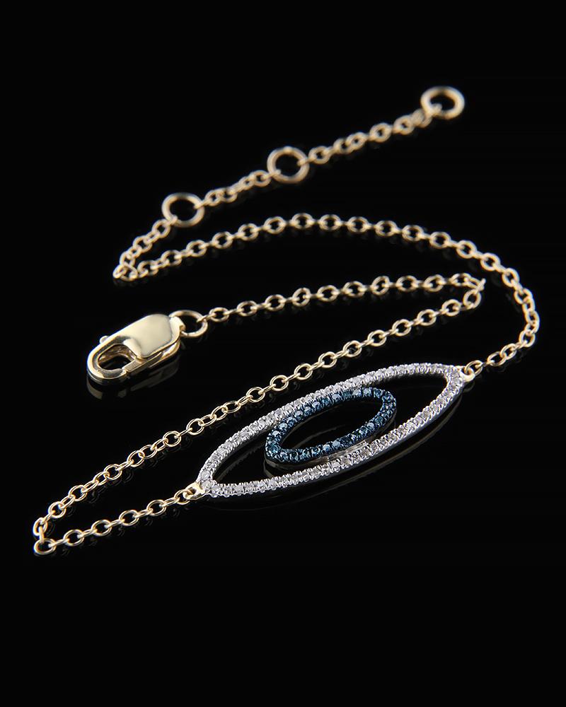 Βραχιόλι ματάκι χρυσό Κ14 με Διαμάντια   γυναικα βραχιόλια βραχιόλια χρυσά