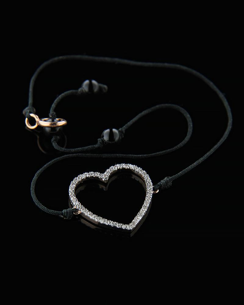 Βραχιόλι καρδιά ροζ χρυσό Κ14 με Διαμάντια   γυναικα βραχιόλια βραχιόλια διαμάντια