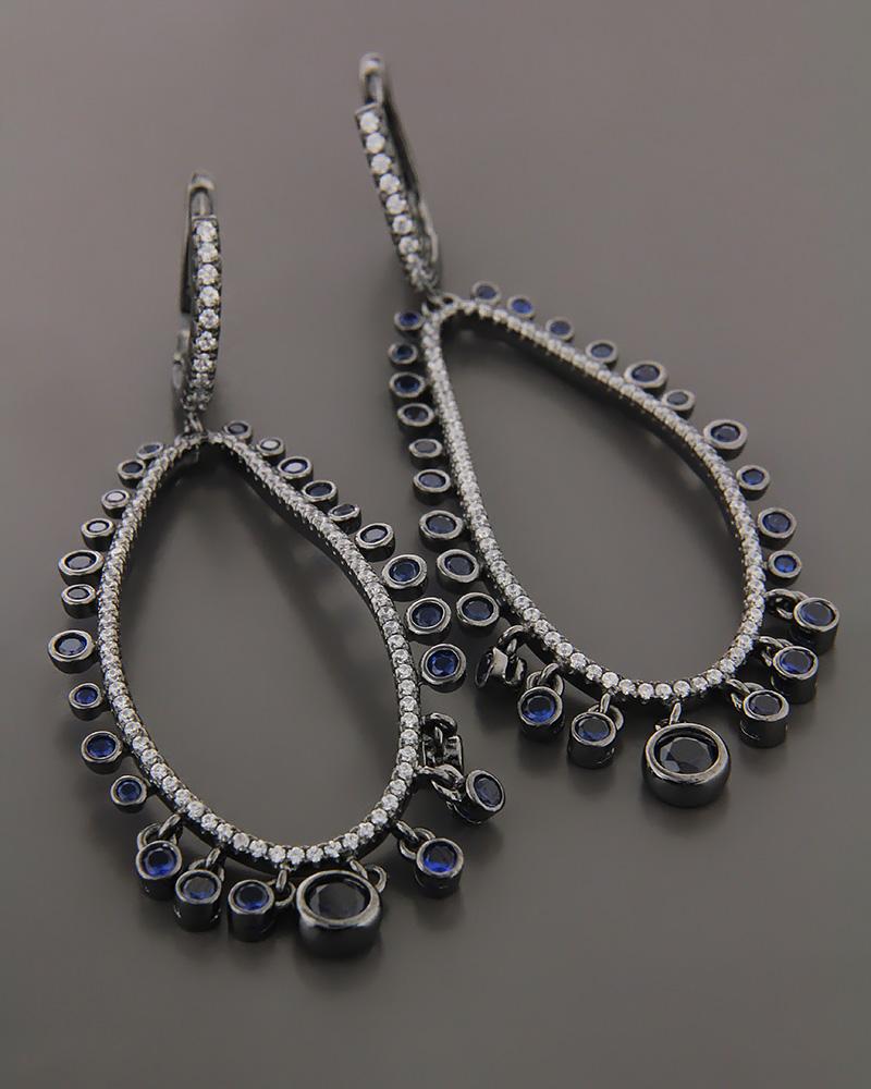 Σκουλαρίκια Κρίκοι ασημένια με ζιργκόν   γυναικα σκουλαρίκια σκουλαρίκια fashion