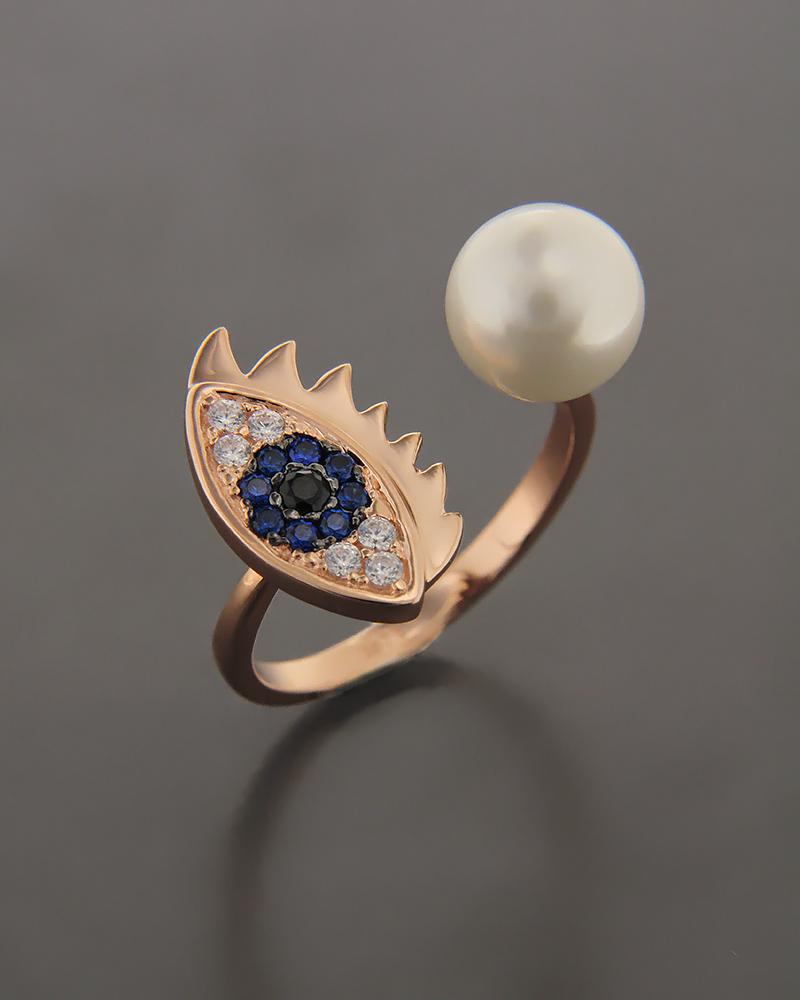 Δαχτυλίδι μάτι ασημένιο με ζιργκόν & πέρλα   κοσμηματα κοσμήματα με ματάκι