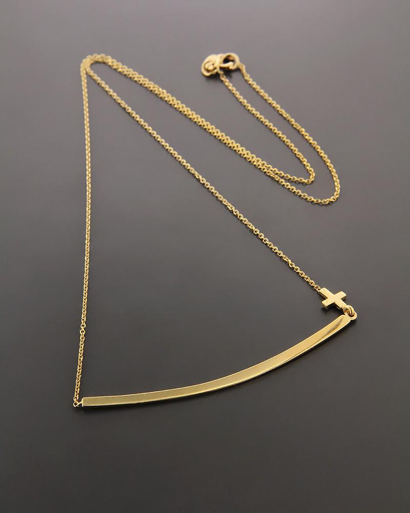 Κολιέ χρυσό Κ14 με σταυρό
