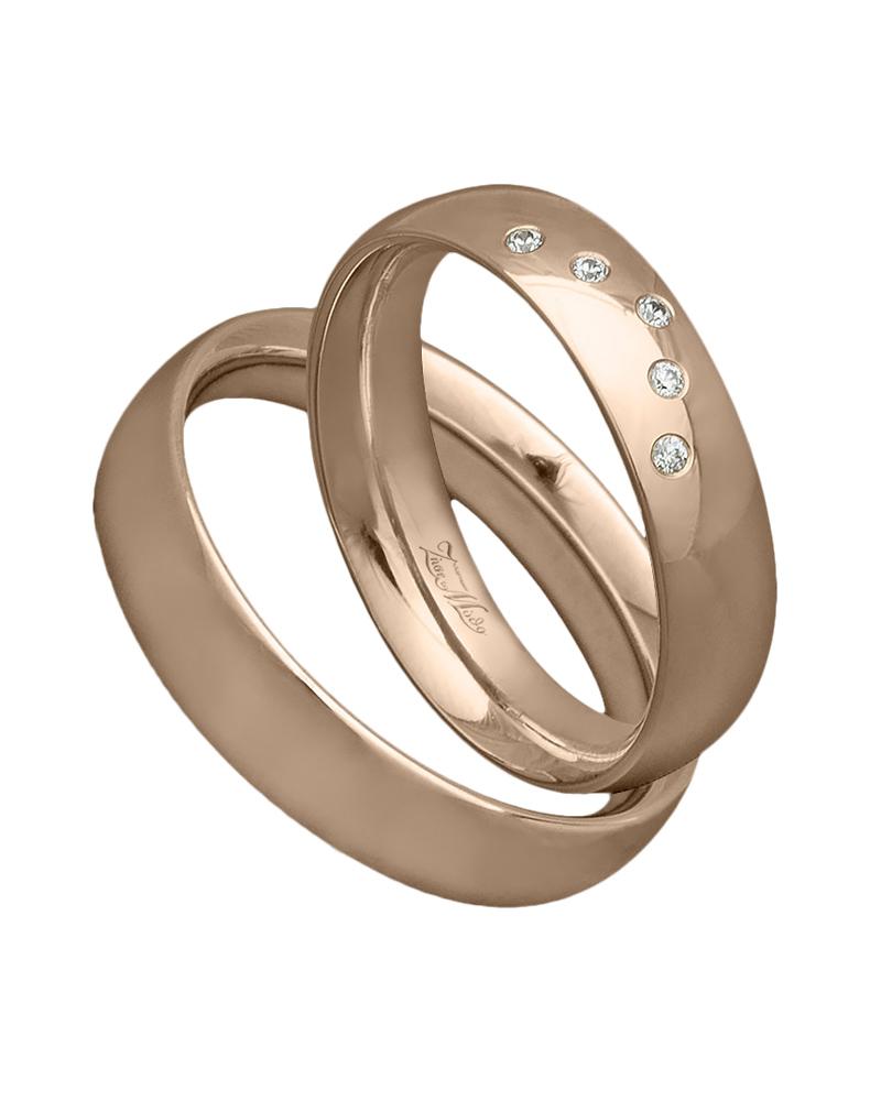 Χειροποίητη βέρα ροζ χρυσό με διαμάντια Κ14   γαμοσ βέρες γάμου   αρραβώνα βέρες ροζ χρυσές