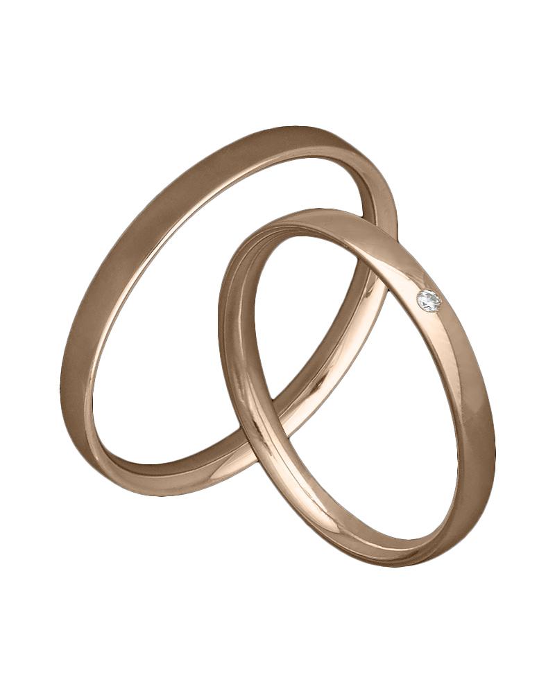 Χειροποίητη βέρα ροζ χρυσό με διαμάντι Κ14   γαμοσ βέρες γάμου   αρραβώνα βέρες ροζ χρυσές