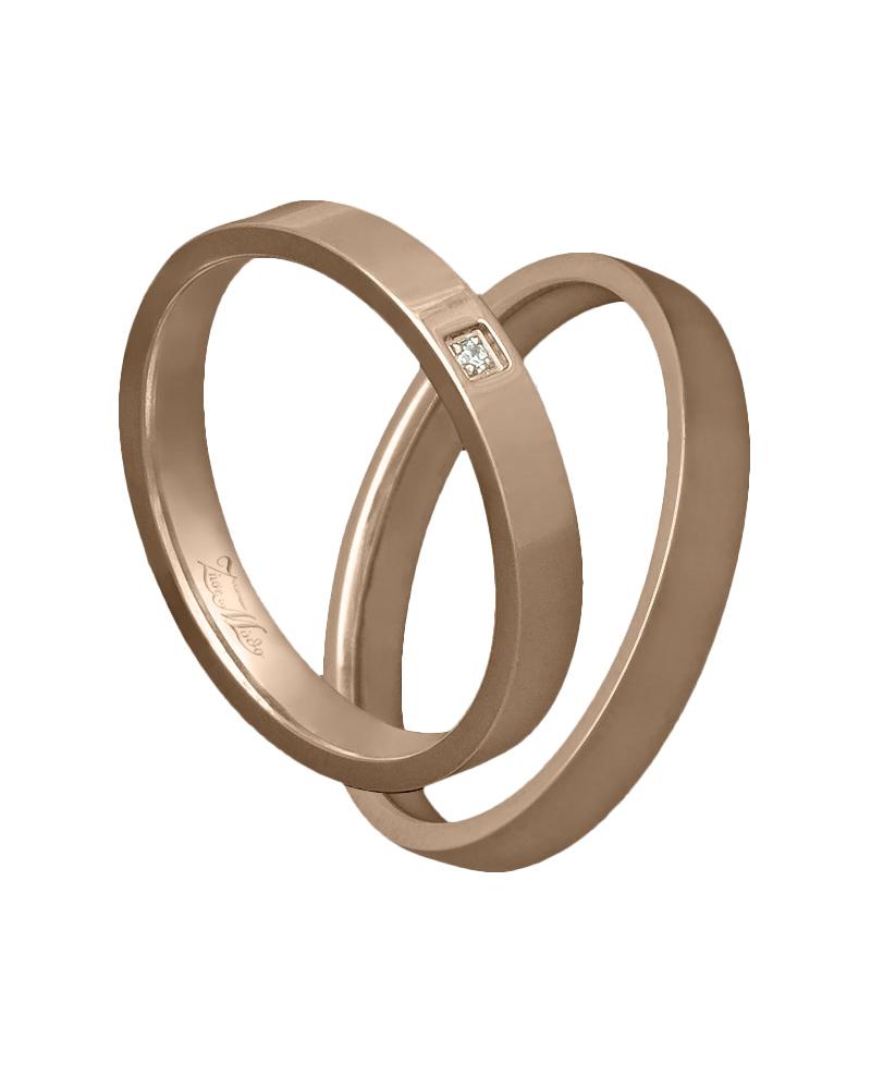 Βέρα ροζ χρυσό με διαμάντι Κ14   γαμοσ βέρες γάμου   αρραβώνα βέρες ροζ χρυσές