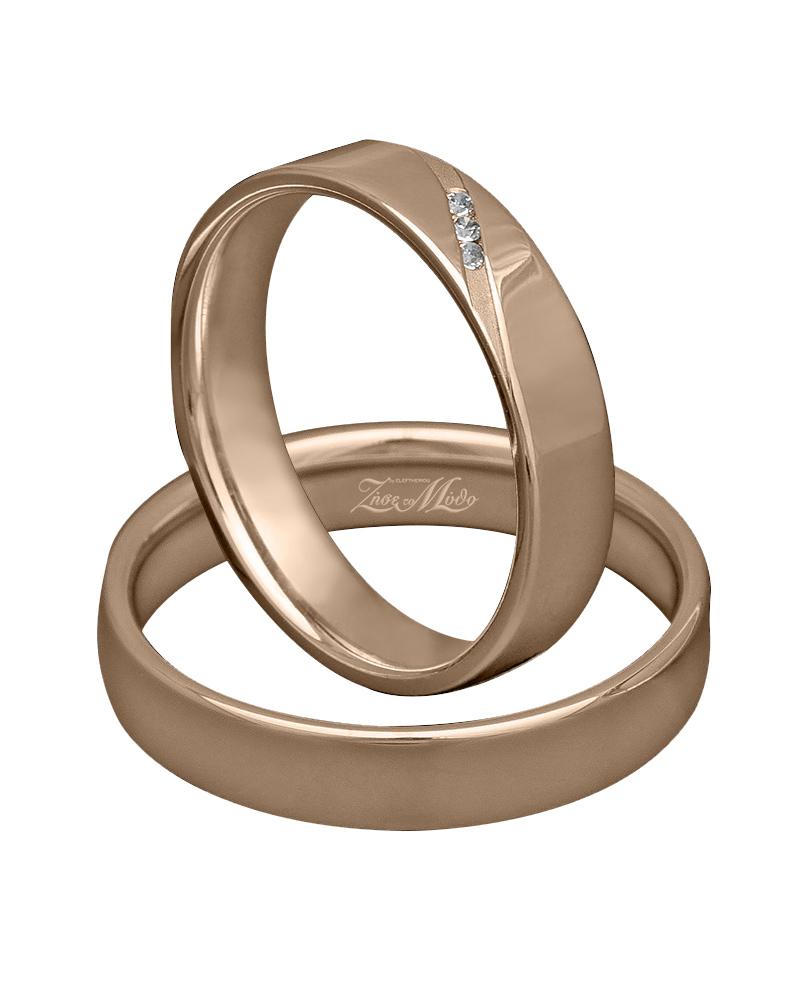 Βέρα ροζ χρυσό με διαμάντια Κ14   ζησε το μυθο βέρες γάμου   αρραβώνα βέρες ροζ χρυσές