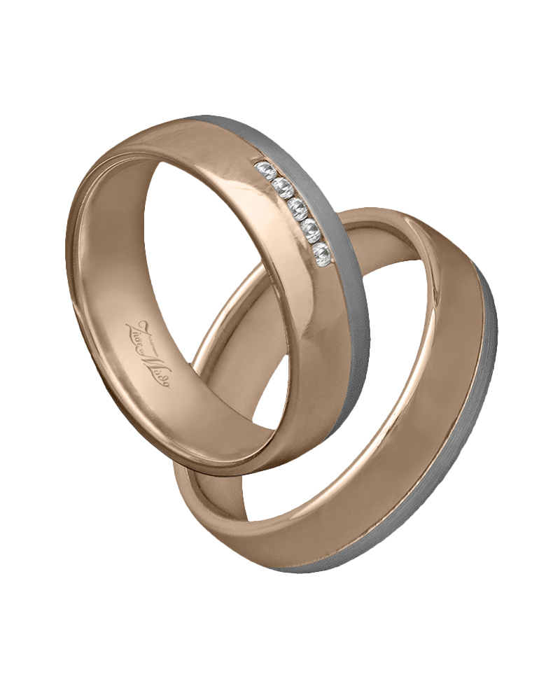 Βέρα ροζ χρυσό με διαμάντια κ14   γαμοσ βέρες γάμου   αρραβώνα βέρες δίχρωμες