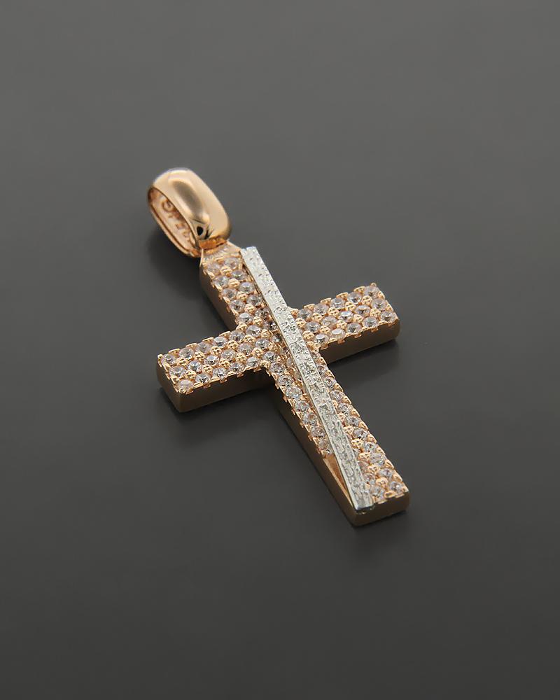 Σταυρός ροζ χρυσός & λευκόχρυσος Κ14 με ζιργκόν   παιδι βαπτιστικοί σταυροί βαπτιστικοί σταυροί για κορίτσι