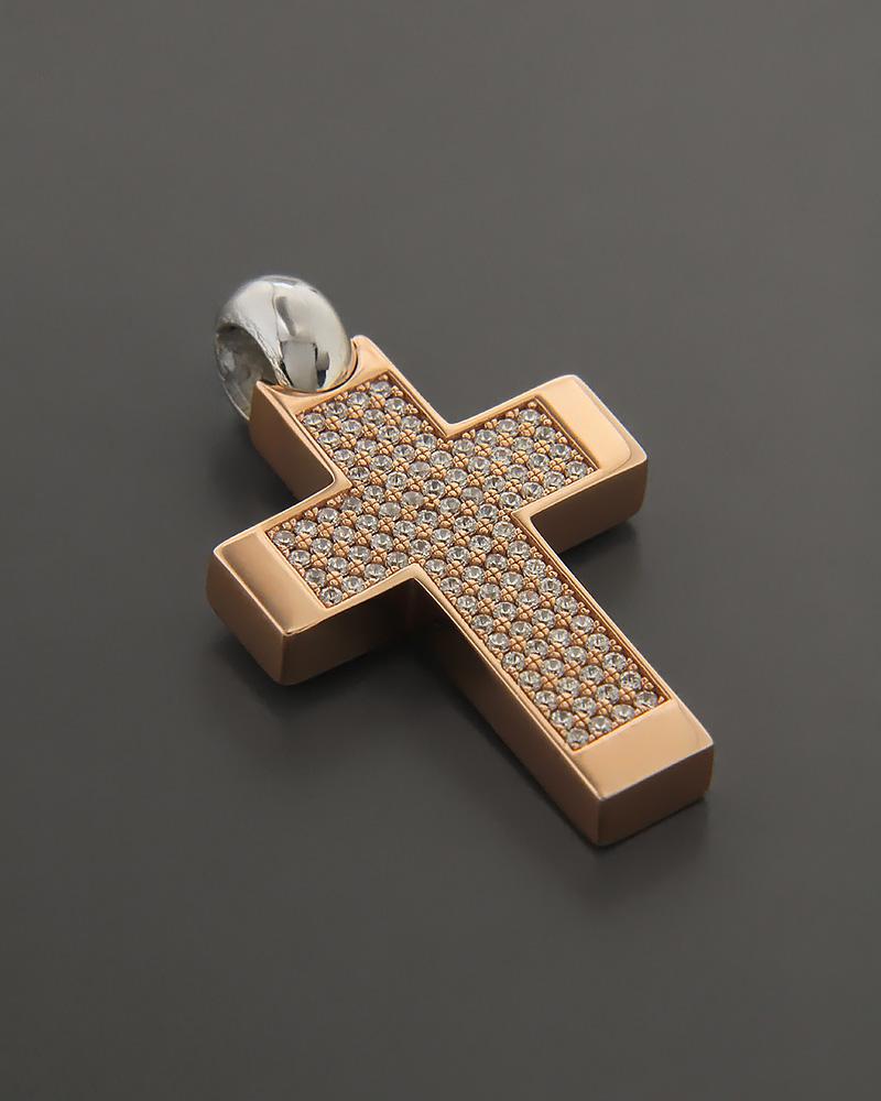 Σταυρός ροζ χρυσός & λευκόχρυσος Κ14 με πέτρες ζιργκόν   παιδι βαπτιστικοί σταυροί βαπτιστικοί σταυροί για κορίτσι