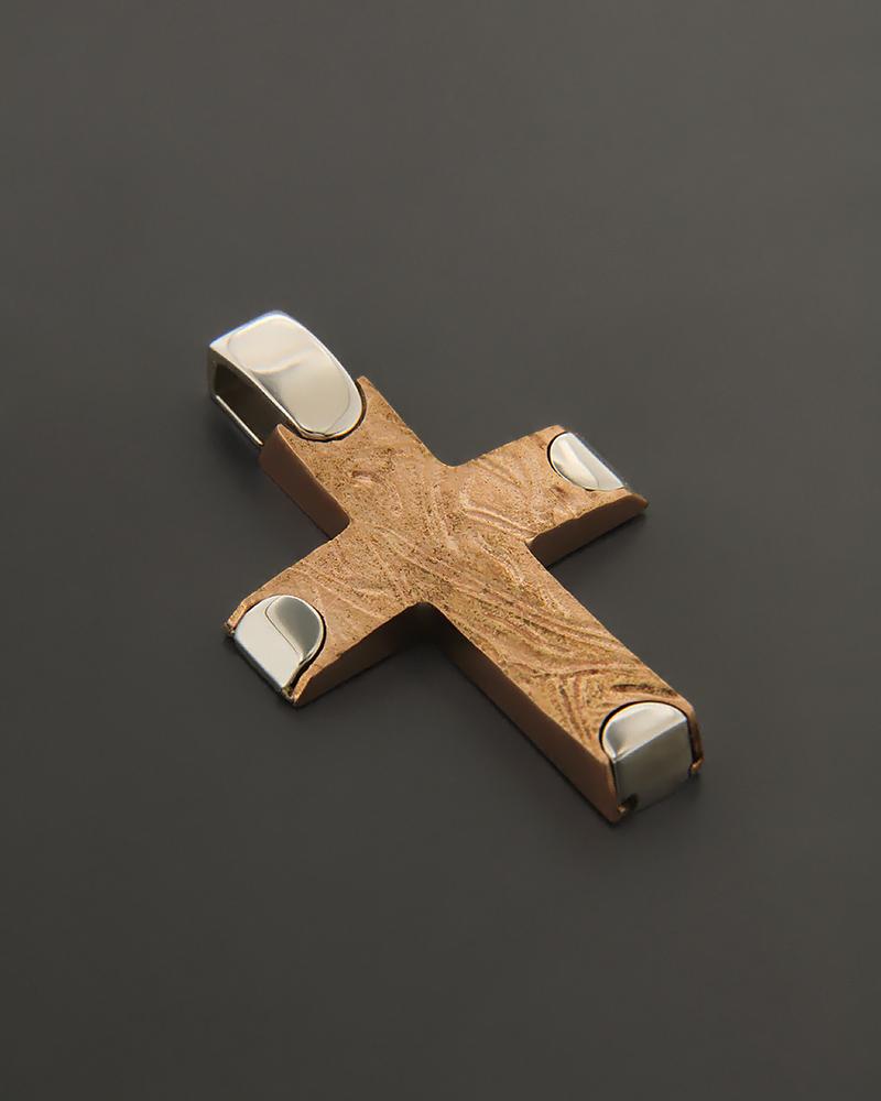 Σταυρός ροζ χρυσός & λευκόχρυσος Κ14   παιδι βαπτιστικοί σταυροί βαπτιστικοί σταυροί για κορίτσι