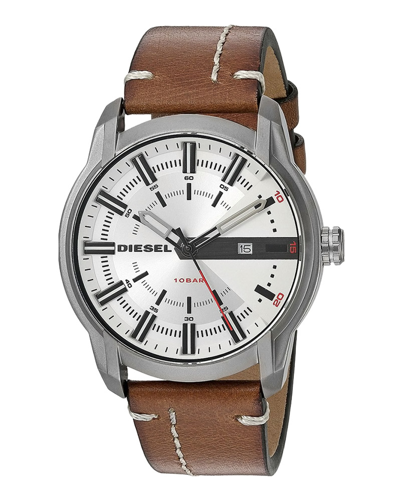 Ρολόι DIESEL Armbar Brown Leather Strap DZ1814   brands diesel