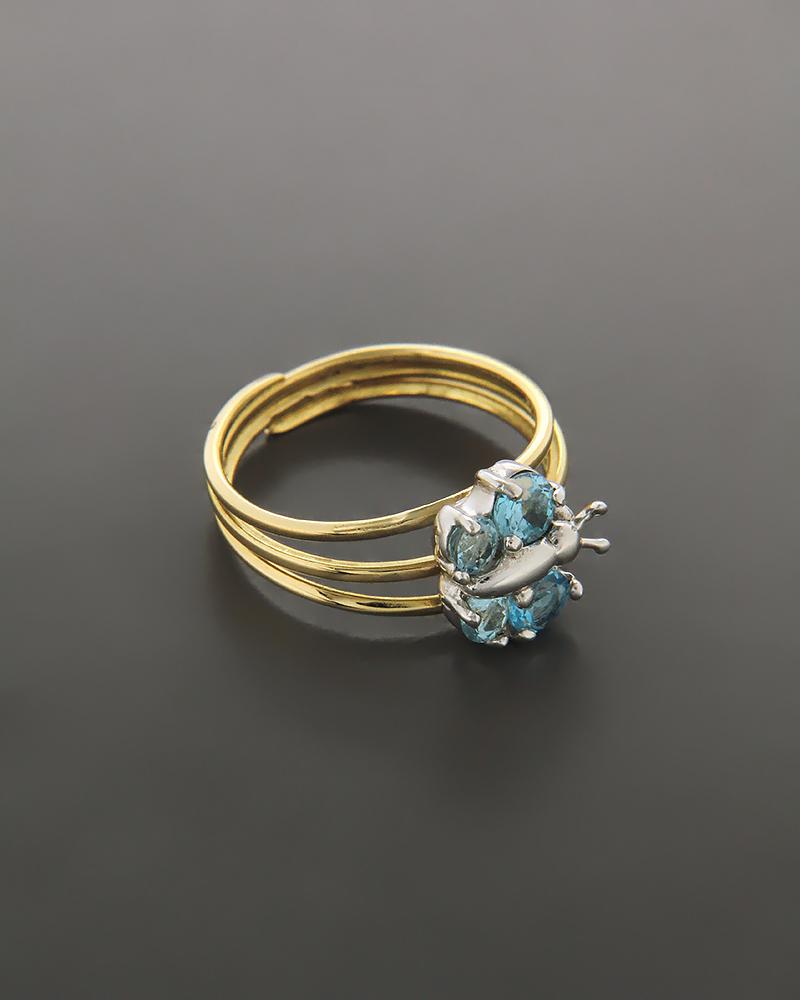 Δαχτυλίδι παιδικό χρυσό και λευκόχρυσο Κ18 με ζιργκόν   παιδι δαχτυλίδια παιδικά