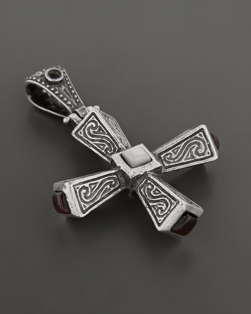 Σταυρός βυζαντινός ασημένιος 925 με γρανάδα και πέρλα