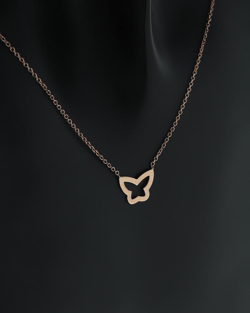 Κολιέ πεταλούδα ροζ χρυσό Κ14   νεεσ αφιξεισ κοσμήματα γυναικεία