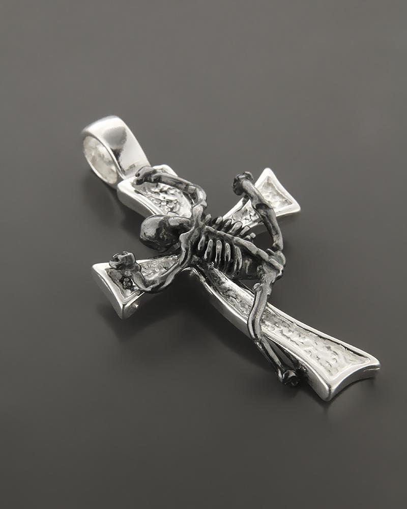 Σταυρός ασημένιος με σκελετό   ανδρασ σταυροί ανδρικοί