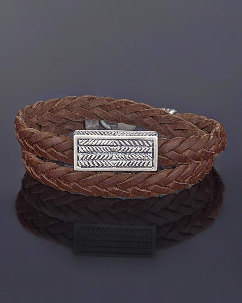 Βραχιόλι ασημένιο με μοτίφ   κοσμηματα βραχιόλια βραχιόλια δέρμα καουτσούκ