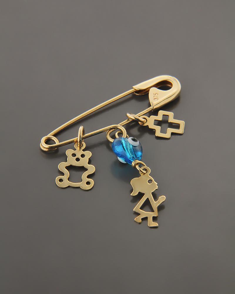 Φυλαχτό παραμάνα χρυσό Κ9 με Φίλντισι   κοσμηματα κρεμαστά κολιέ παιδικά φυλαχτά