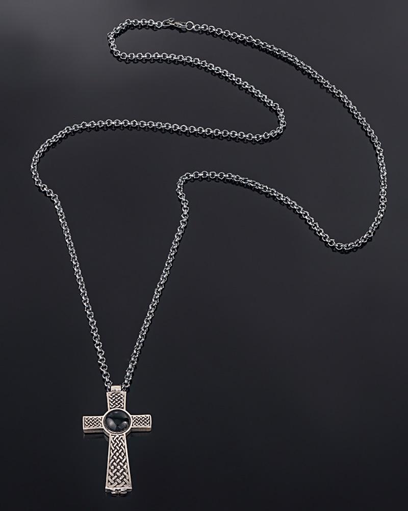 Κολιέ ασημένιο με μαύρο όνυχα   κοσμηματα σταυροί σταυροί ασημένιοι