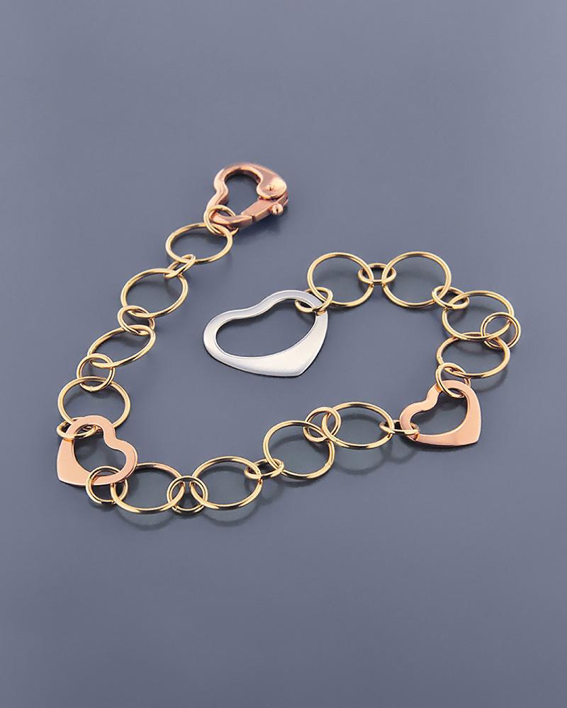 Βραχιόλι χρυσό Κ14 με καρδιές   γυναικα κοσμήματα με καρδιές