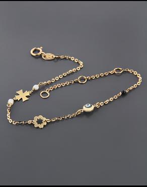 Βραχιόλι χρυσό Κ14 με ματάκι b381f60dc8b