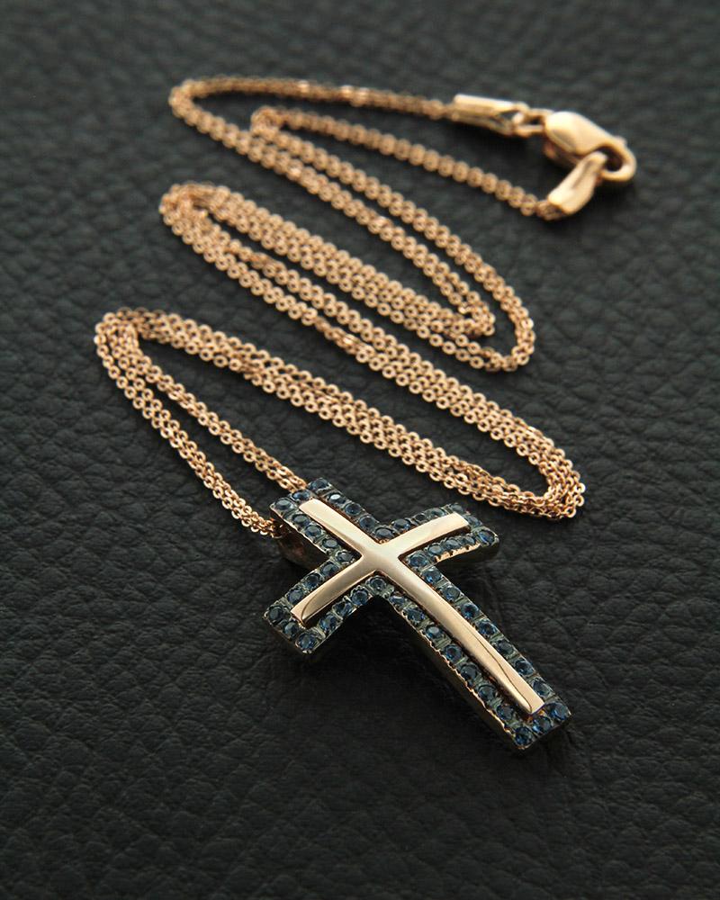 Κολιέ σταυρός ροζ χρυσό K14 με ζιργκόν   κοσμηματα σταυροί σταυροί ροζ χρυσό