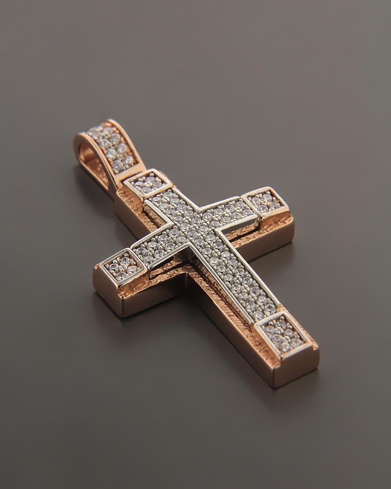Σταυρός ροζ χρυσός K14 με ζιργκόν   παιδι βαπτιστικοί σταυροί βαπτιστικοί σταυροί για κορίτσι