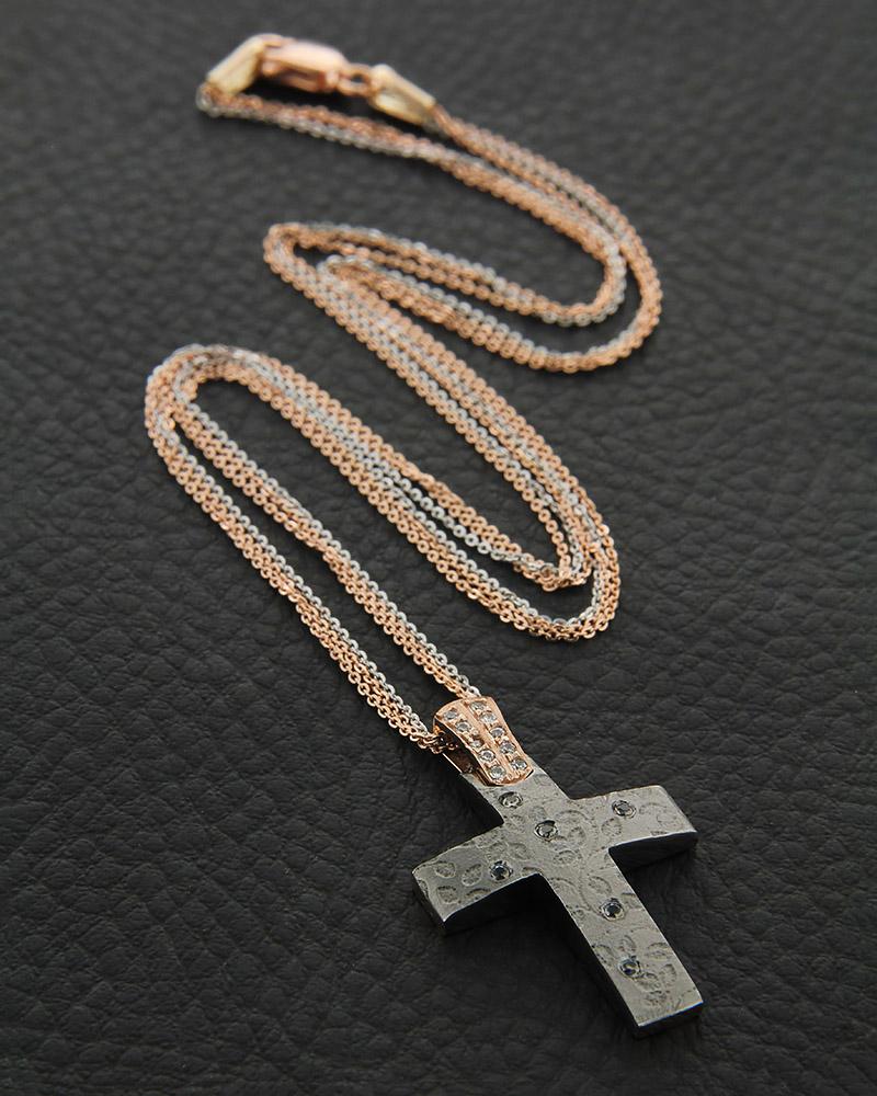 Κολιέ σταυρός ροζ και γκρί επιπλατινωμένο χρυσό K14 με ζιργκόν   κοσμηματα σταυροί με αλυσίδα