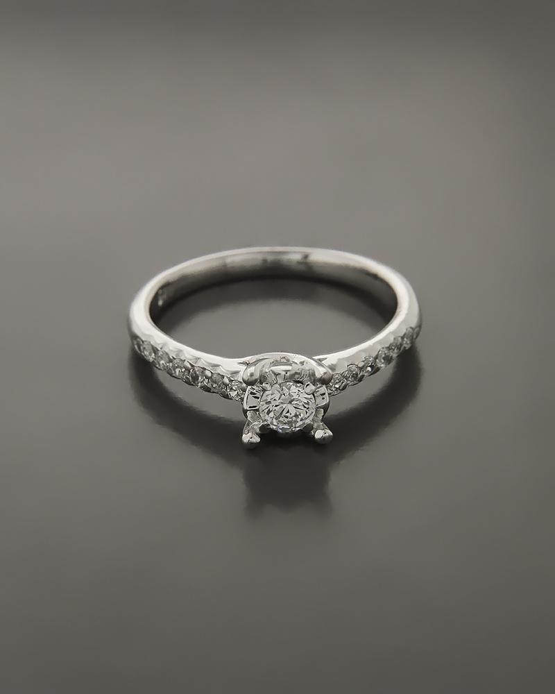 Μονόπετρο δαχτυλίδι λευκόχρυσο Κ14 με Ζιργκόν   ζησε το μυθο μονόπετρα μονοπετρα με ζιργκόν
