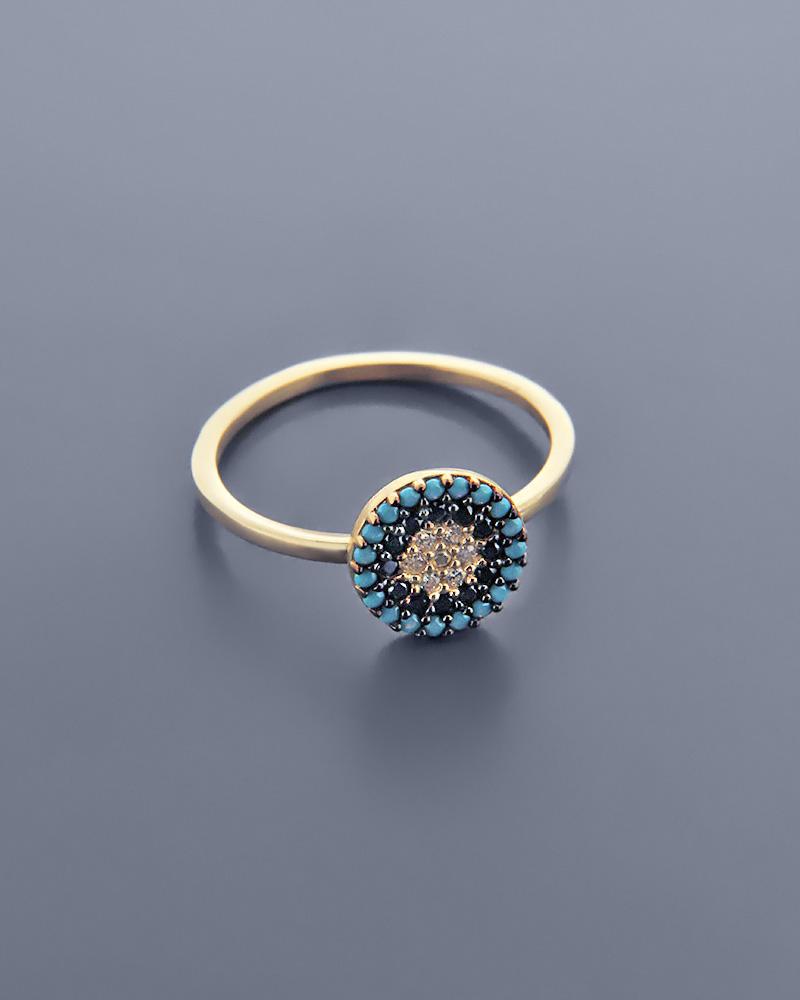 Δαχτυλίδι χρυσό Κ14 με ζιργκόν & τυρκουάζ   γυναικα δαχτυλίδια δαχτυλίδια χρυσά