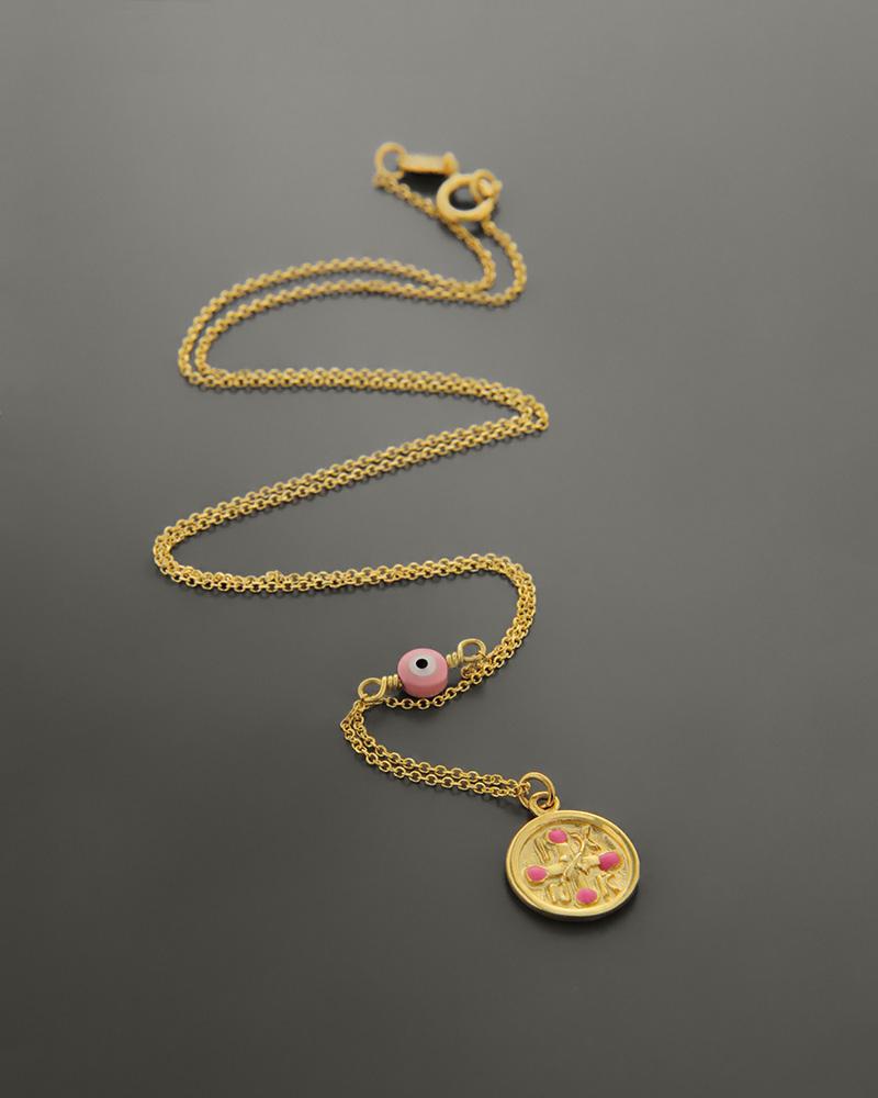 Κολιέ χρυσό Κ14 με σμάλτο και κοράλλι   γυναικα κρεμαστά κολιέ κρεμαστά κολιέ χρυσά
