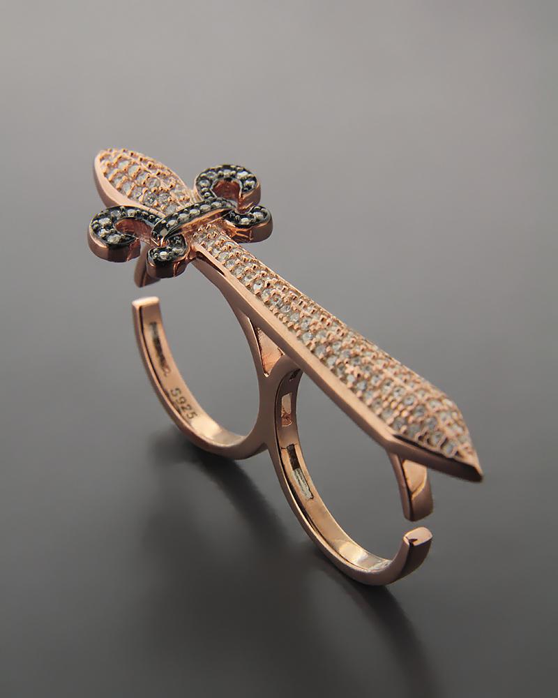 Δαχτυλίδι δύο δαχτύλων σπαθί ασημένιο με Ζιργκόν   γυναικα δαχτυλίδια δαχτυλίδια ασημένια
